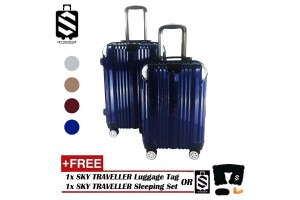 SKY TRAVELLER SKY285 2-in-1 Premium 002 Universal Wheels Luggage With Handbag Handle And Bottle Cup Holder (20 Inch+24 Inch)