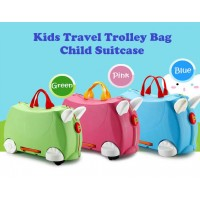 Fashion Multiple Function Kids Travel Trolley Bag Child Suitcase Children Rolling Luggage Baby Toy Storage Box With Wheels - 3 Colors Available