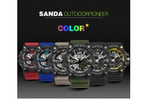 SANDA Brand Watch Shock Original Brand Big LED Screen Multi-functions Digital Waterproof Sport Wrist For Military Clock (759) - 6 Colors Available