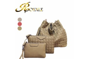 ROYALE 3-In-1 Fashionable Women Handbags Composite Bag Weave Pattern Tote Bag Sling Bag High Quality (901#) - 3 Colors Available (RYL-198)