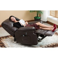 Ergonomic Deluxe Massage Recliner Sofa Chair Leather Sofa Lounge Executive Heated With Control - 2 Colors Available