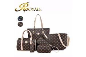 ROYALE 6-In-1 European Faux Leather Classic Women PU Handbag Shoulder Bags Casual Clutch Bags Wallets Set (2114/807#) (RYL-202)