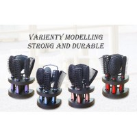 6-In-1 Women Salon Hair Styling Brush Massage Comb Mirror Set With Stand Holder