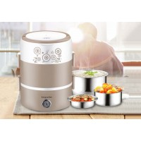 2 Tiers Portable Multi Purpose Electric Lunch Box Steamer Heating Lunch Boxes Electric Soup Cooker Stainless Steel