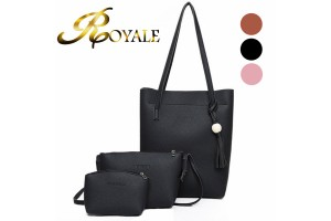 ROYALE 3-In-1 Korean Style Premium Solid Wood PU Leather Shoulder Bag Set - 3 Colors Available (RYL-207)
