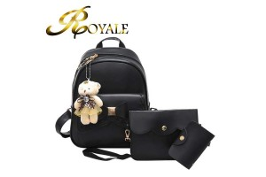 ROYALE 3-In-1 Bag Set Stylish Women PU Leather Backpack Shoulder Bag Card Holder Purse (RYL-209)