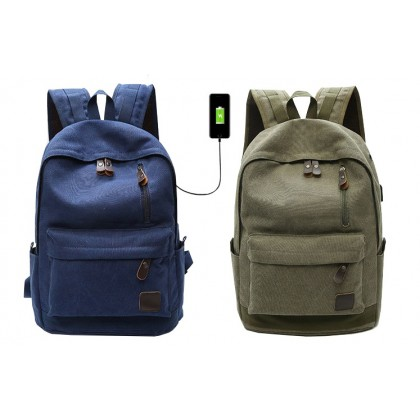 Canvas Fashion Bag Backpack Outdoor Travel Backpack Shoulder Bag With USB Port