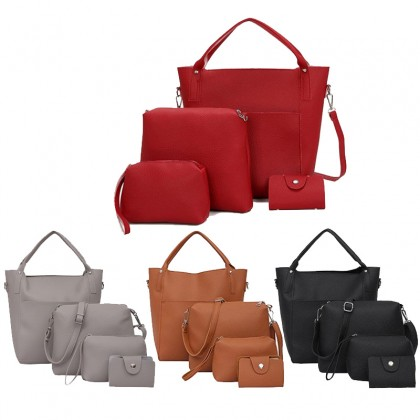 4-In-1 Women High Quality PU Leather Shoulder Crossbody Bags For Women Clutch Card Holder Purse Bags Set (RYL-216)