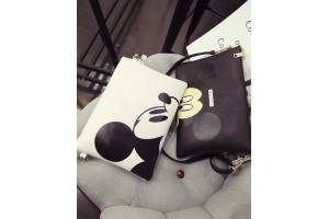 Korean Style Women Ladies Cartoon Sling Clutch Bag PU Leather Pouch Zipper Handbags