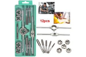 Screw Thread Hand Tap 12 Pcs Metric Tap Wrench and Die Pro Set M6-M12 Nut Bolt Alloy Metal Hand Tools