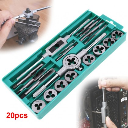 Screw Thread Hand Tap 20pcs Metric Tap Wrench and Die Pro Set M3-M12 Nut Bolt Alloy Metal Hand Tools