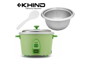 KHIND 0.6L (4 Cups) Rice Cooker Optimal Keep Warm Stainless Steel Removable Cover Lid (RC806N)