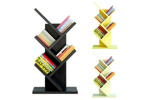 Simple Modern Elegant Creative 5 Tier Book Shelf Tree Shape Design Wood Rack Display Organizer