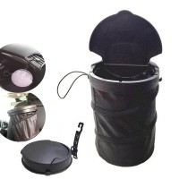 Portable Foldable Collapsible Car Trash Can Leakproof Pop-Up TrashBin W/Lid