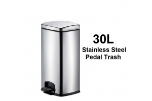 30L Large Capacity Stainless Steel Trash Pedal Rubbish Trash Garbage Bin With Slow Down Close Cover