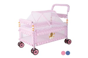 Multifunctional Iron Baby Bed with Roller Baby Crib Wheel Stroller Trolley Newborn Baby Bassinet Stroller with Mosquito Netting 9702