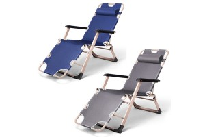 Steel Reclining Deck Lounge Beach Chair Outdoor Seat Leisure Folding Camping Tanning Folding Relax Chair