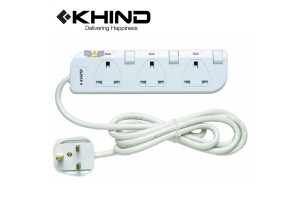 KHIND 3 Gang Extension Socket 3250W 2.0M Trailing Socket (LN8133W)