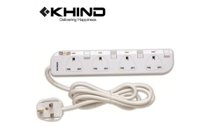 KHIND 4 Gang Extension Socket 3250W 2.0M Trailing Socket (LN8134W)