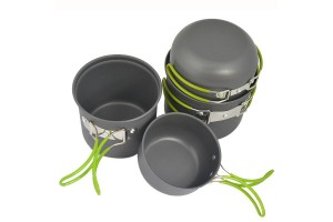 4-In-1 Multipurpose Lightweight Portable Camping Backpacker Sturdy Outdoor Cooking Set With Foldable Handles (DS-201)