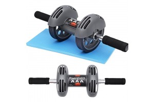 Power Stretch Roller Heavy Duty Spring Reflexive Effect Double Wheel Total Body Exerciser AB Roller (FREE KNEE PAD)