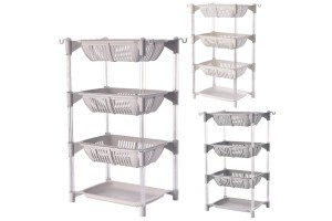 Multipurpose 4 Tier Plastic Rack Office Kitchen Bathroom Living Room Space Saving Storage Shelf Organizer