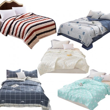 GTE Home Lightweight Textile Summer Quilt Blankets Grid Summer Comforter Bed Cover Quilting King Size Suitable for Adults Kids (1.8)