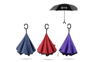 Inverted Reverse Double Layer Umbrella With C Hook