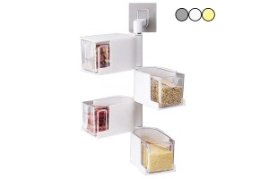 Adhesive Wall Hanging Type Rotary Seasoning Box Food Storage Seasoning Drawer Condiments Rack