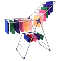 Multifunctional 2 Tier Foldable Strong Carbon Steel Clothes Towel Laundry Air Drying Rack