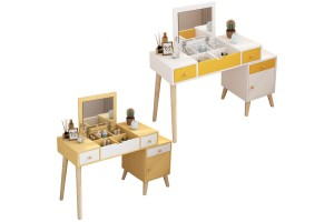 Dressing Table Small Bedroom Dressing Table Multi-function Retractable Solid Wood Legs Makeup Table (DT001)