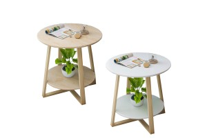 Simple Living Room Small Coffee Table Imitation Wood Small Round Table (H36)