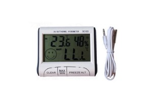 Indoor And Outdoor Thermometer Hygrometer With Clock Function Portable Frost Alarm