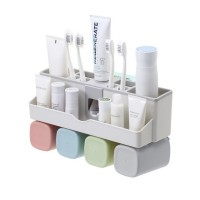 Family Of Four Wall-mounted Punch-free Nordic Wash Storage Rack Toothbrush Holder Set Squeeze Toothpaste Brush Tooth Cup