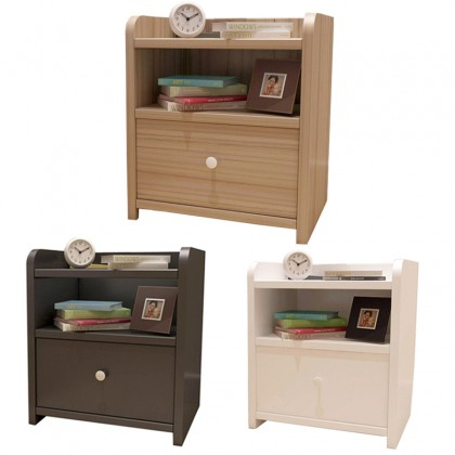 GTE Premium Wooden Bed Beside Table Locker Side Table Fashion Locker Storage Cabinet Garden Modern Coffee Table Phone Side Table With 1 Drawer (BT005)