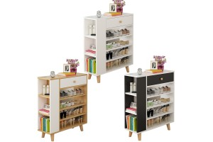 4 Layer Multipurpose Wooden Shoes Rack Shoes Cabinet Stool Storage Cabinet Shelf Organizer With Drawer (SR009)