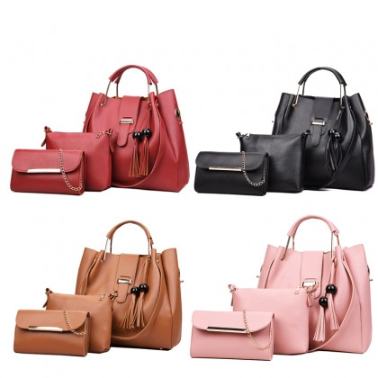 3-In-1 Korean Style Women Fashion Version Of The Multi-piece Women's Handbags Shoulder Diagonal (RYL-220)