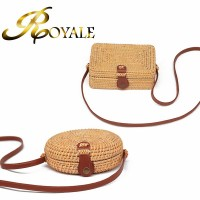 ROYALE Rattan Bag Ins Diagonal Cross Mini Bag Mori Basket Tweezers Retro Art Hand-Woven Leather Buckle Bag (RYL-221)