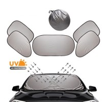 6-in-1 One Foldable Car Sunshade Car Vehicle Windshield Cover Block Front Rear Side Window SunShade