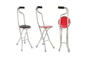 Foldable Stainless Steel Four Feet Crutch Stool Elderly Walking Cane With Seat - Random Color