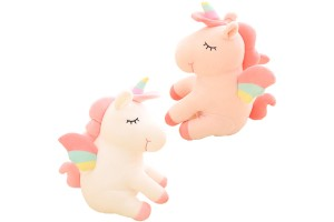 45cm Soft Fleece Textured Cute Colourful Unicorn Plush Doll Sleeping Cuddle Buddy Cotton Stuffed Toy