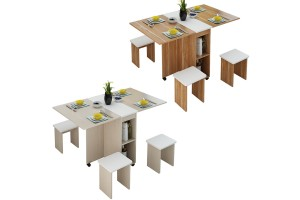 Folding Table Matching Stool Restaurant Furniture Small Apartment Simple Dining Table Multi-functional Storage Locker (CT043)