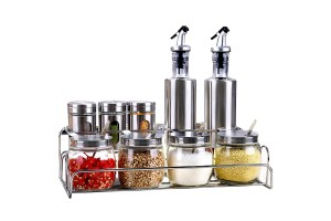 Glass Oil Pot Seasoning Can Set Glass Seasoning Pot Kitchen Supplies Stainless Steel Glass Oil (B10)