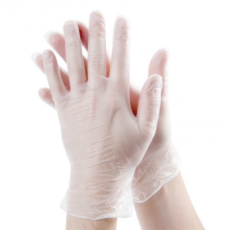 100pcs Hand Glove 9 Inch Disposable Non-sterile PVC Vinyl Transparent Light Duty Cleaning Powder Free Medical Examination Food Handling Glove (L Size)