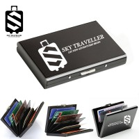 SKY TRAVELLER SKY321 Men Business Stainless Steel Credit Card Holder Pocket Metal Box Case