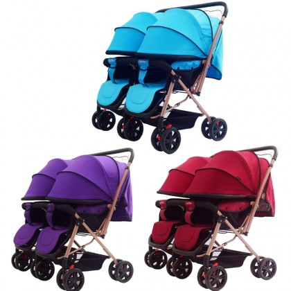 Baby Twin Stroller Can Sit Travel Baby Stroller Lightweight Foldable Stroller
