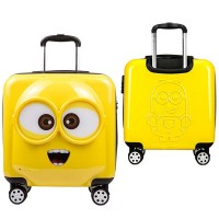 Premium Carry On Luggage 20'' Cute Cartoon Minions Children Hardside ABS+PC Suitcase 360 Degrees Rotation Wheel (39cm x 24cm x 47cm)