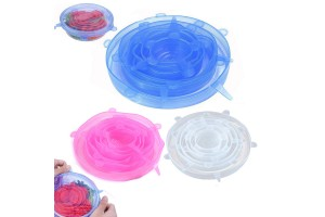 6pcs High Quality Silicone Cover Universal Silicone Suction Lid Bowl Pan Cooking Pot Lid Silicon Stretch Cover Kitchen Pan Cap