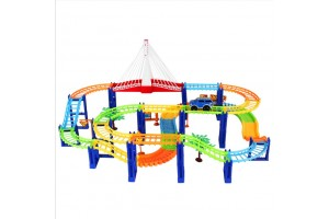 Racing Car Roller Coaster Track Building Blocks Educational Toys Puzzle Free Assembling Rail Car Toys