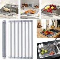 Large Multipurpose Foldable Holder Over The Sink Multipurpose Heat Resistant Roll-Up Dish Drying Rack